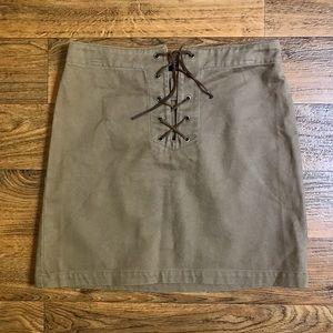 Ralph Lauren Plaid Label Tan Skirt Leather Laces